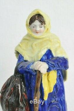 1800 Russian Imperial Popov Porcelain Figurine Enamel Ceramic Peasant Woman Gift
