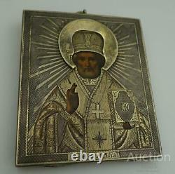 1861 Antique Imperial Russian Sterling Silver 84 Christian Icon St. Nicholas