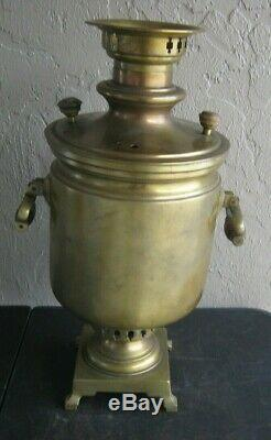 1865 Antique Russian Imperial Samovar Heavy Brass Hard to Find