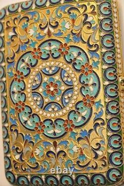 1880y. RUSSIAN ROYAL IMPERIAL TSAR CIGARETTE CASE 84 SOLID SILVER ENAMEL GOLD