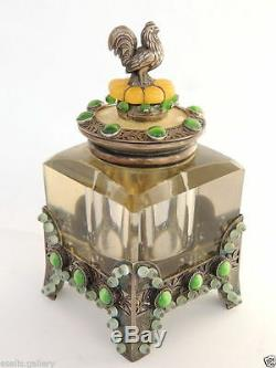 1883 ART Imperial Russian Silver 84 Inkwell Decorated Gemstones Amber, Cats Eye