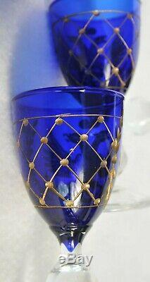 18th c. RUSSIAN IMPERIAL CARAFE COBALT GLASS GOBLETS VODKA CHALICE DISH KOVSH