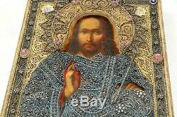 1900 Rare Russian Imperial Icon Jesus Christ God 84 Silver Filigree Oklad Gold