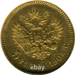 1902 Gold Coin Graded Ms 66 Russian Rouble Antique Ngc 5 Ruble Imperial Russia