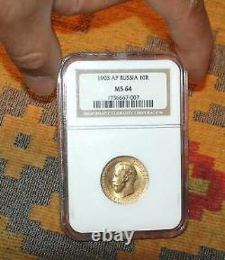 1903 Ngc Ms64 10 Roubles Russian Tzar Antique Gold Coin Imperial Antique Russia