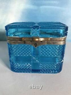 1909 Huge Antique Imperial Russian Blue Glass Trinket Jewelry Box Marked