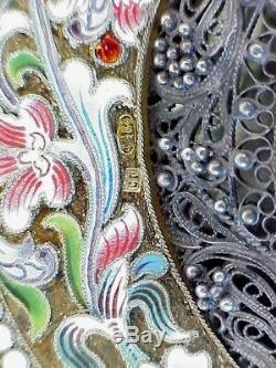 19c. RARE RUSSIAN IMPERIAL ICON MOTHER GOD KAZAN SILVER GOLD ENAMEL FILIGREE TSAR