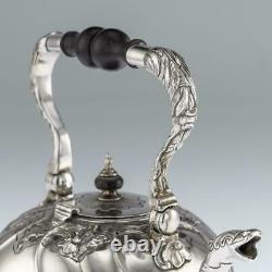 ANTIQUE 18thC IMPERIAL RUSSIAN SOLID SILVER TEA KETTLE ON STAND, MOSCOW c. 1761