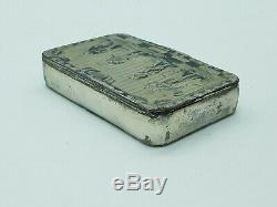 Antique 19c Imperial Russian Silver Niello 84 Snuff Box 2 sided
