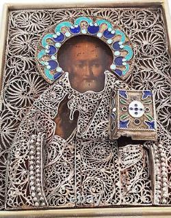 Antique 19th C Russian Icon of St. Nicholas in Silver 84 Enamel Filigree Riza
