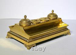 Antique 19th century Royal Empire Russian Inkwell of Gilt Bronze