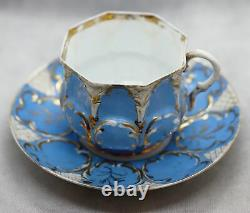 Antique Collection of Imperial Russian Kuznetsov Porcelain Tea Cups and Plates