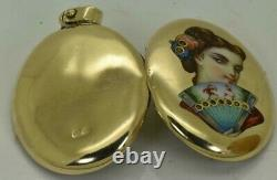 Antique Faberge Imperial Russian 14k Gold Locket Pendant with Enamel