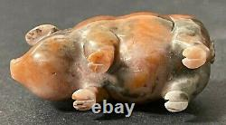 Antique Faberge Imperial Russian Factory Carved Agate Pig in Box