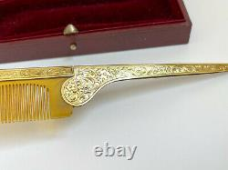Antique Folding Comb Imperial Russian Faberge 14k Solid Gold Hand engraved
