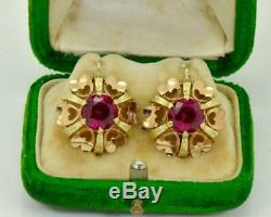 Antique Imperial Russian (56)14k gold&4ct Rubies Earrings set c1900's. Boxed