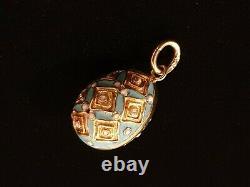 Antique Imperial Russian 56 Gold Cloisonne Enamel Egg Pendant Empire Jewelry RU