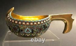 Antique Imperial Russian 84 Gilded Enameled Silver Kovsh (Ovchinnikov)