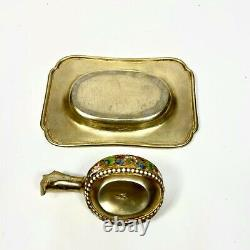Antique Imperial Russian 84 Silver Enamel Tray and Kovsh