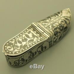 Antique Imperial Russian 84 Silver Men's Vesta Match Safe Case Niello Shoe 1851