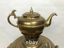 Antique Imperial Russian Brass Samovar withTeapot, 21 1/2 Tall withTeapot