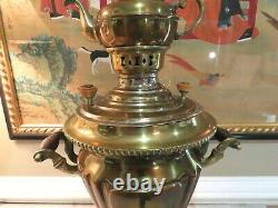 Antique Imperial Russian Brass Samovar withTeapot, 23 Tall