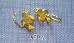 Antique Imperial Russian Enamel ROSE Gold 56 14K Jewelry Old Earrings 3.2 gr