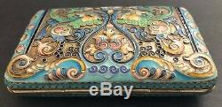 Antique Imperial Russian Enameled Gilded Silver Cigarette Case (Zverev)
