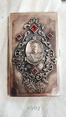 Antique Imperial Russian Engraved Sterling Silver 84 Business Card Holder 103 gr
