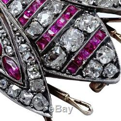 Antique Imperial Russian FABERGE Brooch 56 Gold 14K Diamond Ruby Romanov Jewels