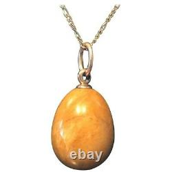 Antique Imperial Russian Faberge 14K Agate Egg Pendant