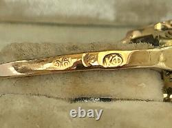 Antique Imperial Russian Faberge 14k 56 Gold Big Diamond Ring Author's work