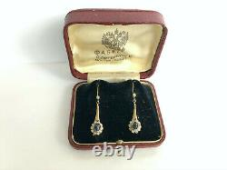 Antique Imperial Russian Faberge 14k 56 Gold Diamond Sapphire Earrings Author's