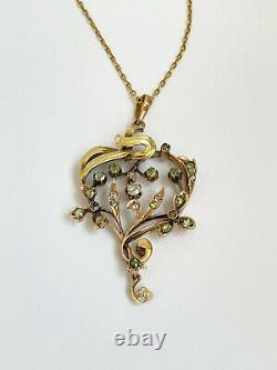 Antique Imperial Russian Faberge 14k/56 Gold Natural Diamonds Pendant Necklace