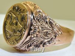 Antique Imperial Russian Faberge 14k gold mens hunter Trophy ring by Erik Kollin