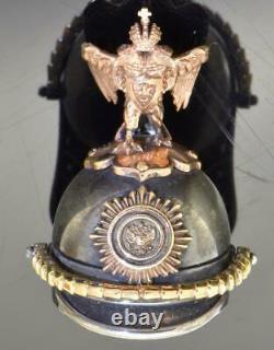 Antique Imperial Russian Faberge 14k gold &silver Guard Helmet locket. Erik Kolin