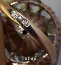 Antique Imperial Russian Faberge 14k red gold, Enamel & 2.5ct Diamonds ring. Boxed