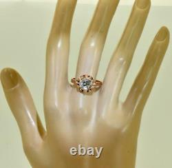 Antique Imperial Russian Faberge 14k rose gold&1.5ct Diamond engagement ring. Box