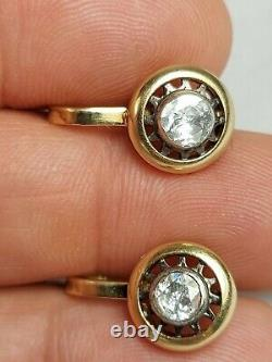 Antique Imperial Russian Faberge 18k 72 Gold 1.5ct Diamonds Ring Earrings Set