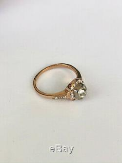 Antique Imperial Russian Faberge 18k 72 Gold Diamond Ring Author's work