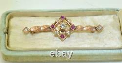 Antique Imperial Russian Faberge 18k rose gold, Diamonds&Ruby brooch. A. Thielemann