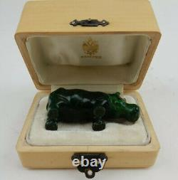 Antique Imperial Russian Faberge Hand Carved Malachite Hippo Statue w Fitted Box