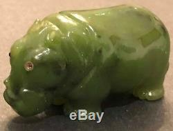 Antique Imperial Russian Faberge Hand Carved Nephrite Hippo Statue w Fitted Box
