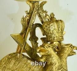 Antique Imperial Russian Masonic 24k gild silver clock by Vacheron&Constantin