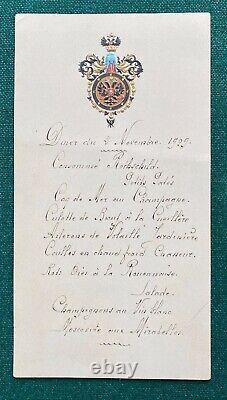 Antique Imperial Russian Menu Grand Duke Romanov Tsarevich of Russia 1909