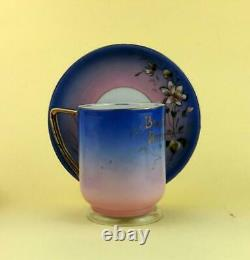 Antique Imperial Russian Porcelain Cup and Saucer by Kuznetsov F. C 1887-1900