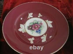 Antique Imperial Russian Porcelain Red Floral Bowl & Plate Set Marked Gardner
