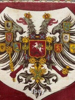 Antique Imperial Russian Romanov Double Headed Eagle Flag Tsar Alexander III