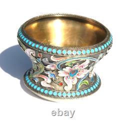 Antique Imperial Russian Shaded Cloisonne 875 Silver Enamel Salt Dish Bowl