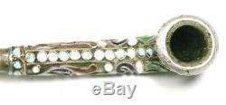 Antique Imperial Russian Silver, Enamel & Amber Tobacco Pipe
